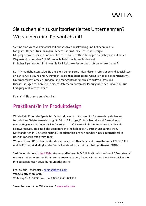 Microsoft Word - Stellenausschreibung Praktikum Produktdesigner