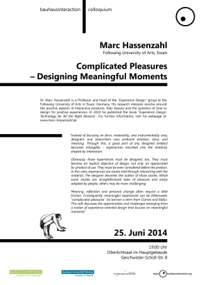 Vortrag: Marc Hassenzahl – Complicated Pleasures: Designing Meaningful Moments